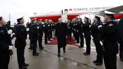 посрещането на турския президент Реджеп Ердоган на летището във Варна.