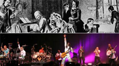 Йохан Себастиан Бах свири на клавесин и неговото семейство (горе) и рок крупата
