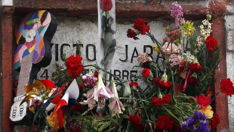 Гробът на Виктор Хара в чилийската столица Сантяго