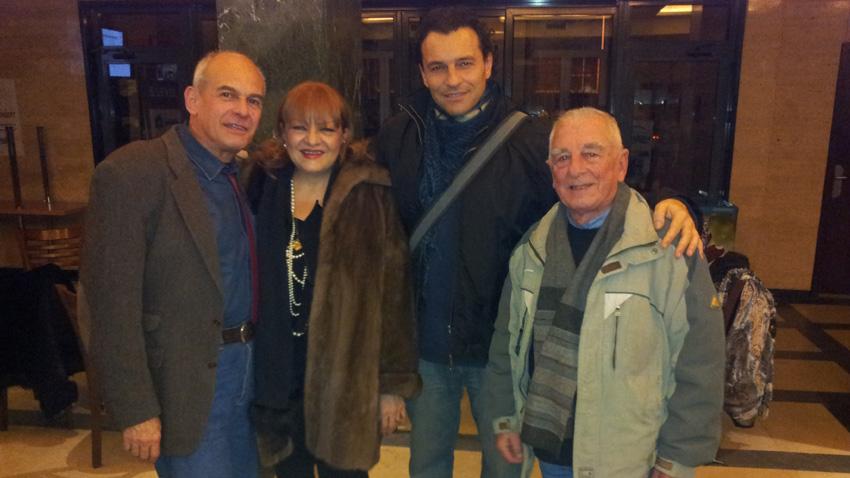 На снимката (отляво надясно): Кристиян Бояджиев, Богдана Карадочева, Деян Неделчев, Борис Карадимчев (2013 г.)