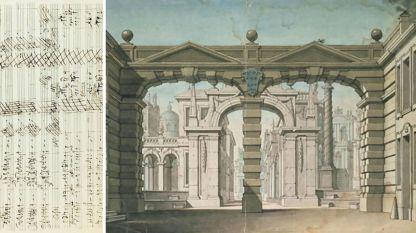 Декори от премиерата в Мюнхен, 1781, вляво - част от оригиналната  партитура на Моцарт за KV366