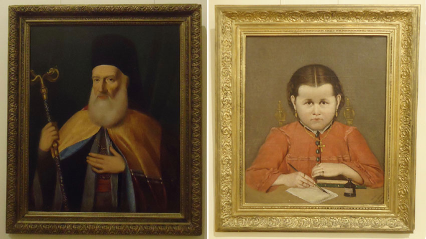 Dimitar Dobrovich – Portrait of Evgeni Bulgaris (L); Hristo Tsokev – Portrait of Mariyka Vidinlieva (R )