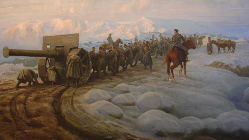 Изтегляне оръдие на позиция, 1918 г.