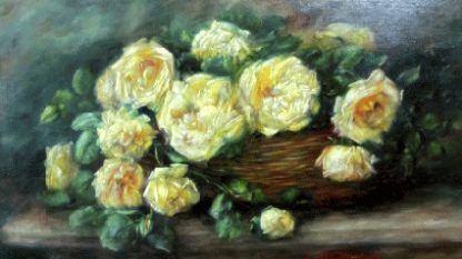 Анна Хен-Йосифова (1872–1931). Рози в кошница, 20-те години на ХХ в., маслени бои върху платно, СГХГ