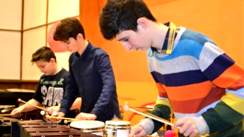 Young percussionists from the Music School in Sofia