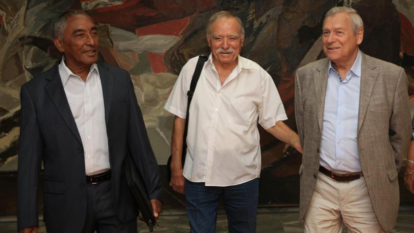 From left to right: Arnaldo Tamayo Méndez, Georgi Ivanov and Alexander Pavlovich Alexandrov