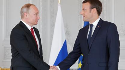 Владимир Путин с Еманюел Макрон