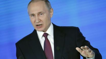 Президентът Владимир Путин прави годишното си обръщение пред парламента в Москва.