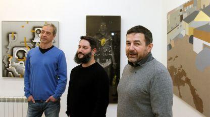 Слав Недев, Александр Вылчев и Иво Бистрички (слева направо) на открытии выставки