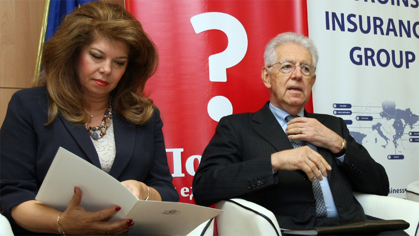 Iliana Iotova and Mario Monti during the conference