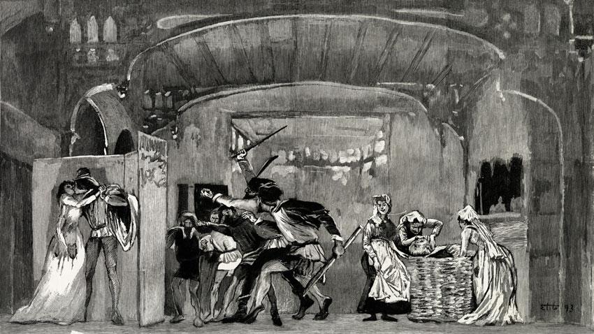 """Гравюра от Еторе Тито (графика, 18 февруари, 1893 г.) на оригиналната продукция на операта """"Фалстаф"""" на Верди."""
