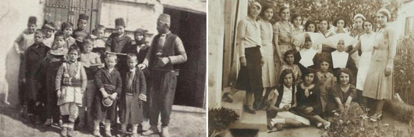 The first students of the American Farmers' School in Thessaloniki, orphans from the Illinden uprising (left).  Teachers and students from the French College in Thessaloniki (right).