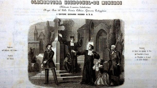 """Корица на либретото на операта """"Стифелио"""" (фрагмент)"""