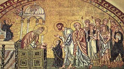 """""""Въведение Богородично"""", мозайка в църквата """"Успение Богородично"""" близо до Дафни, Гърция"""