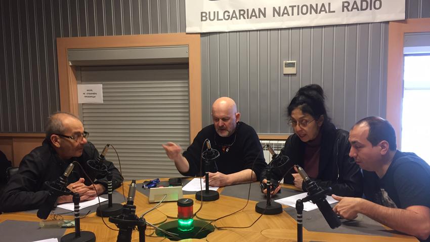 Актьорите Веселин Цанев, Валентин Ганев, Йорданка Стефанова и Кирил Бояджиев (отляво надясно).