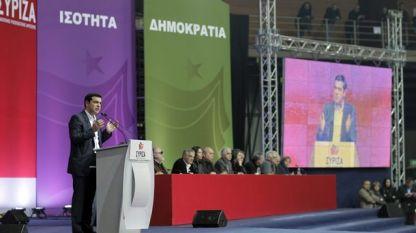 Лидерът на СИРИЗА Алексис Ципрас по време на предизборно събитие