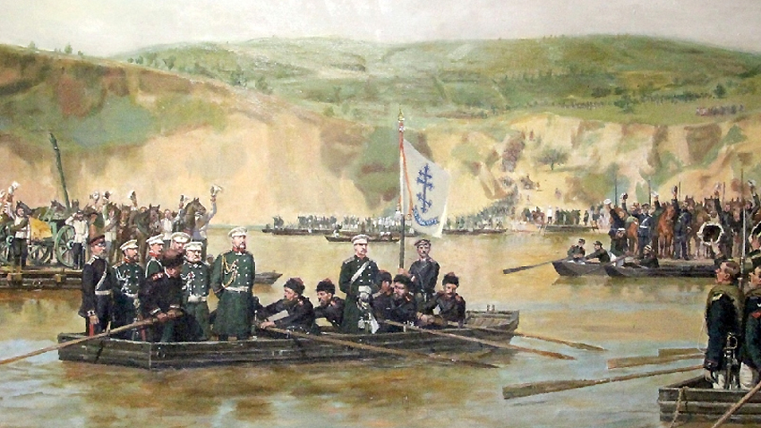 June 1877 г. Russian troops cross the Danube near Bulgaria's Svishtov