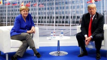 Ангела Меркел и Доналд Тръмп на двустранните им разговири в кулоарите на срещата на върха на НАТО в Брюксел.