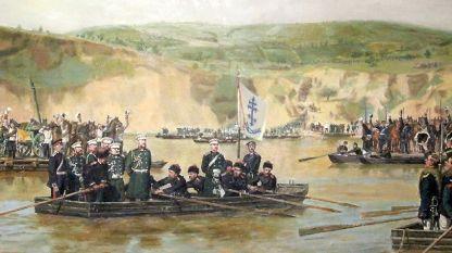 Junio de 1877. Las tropas rusas cruzan el Danubio cerca de Svishtov.