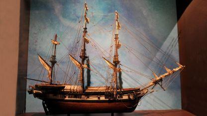 """Макет на кораба """"Бийгъл"""" в дома на Чарлз Дарвин, с който той обикаля света през 1831-1835 година."""
