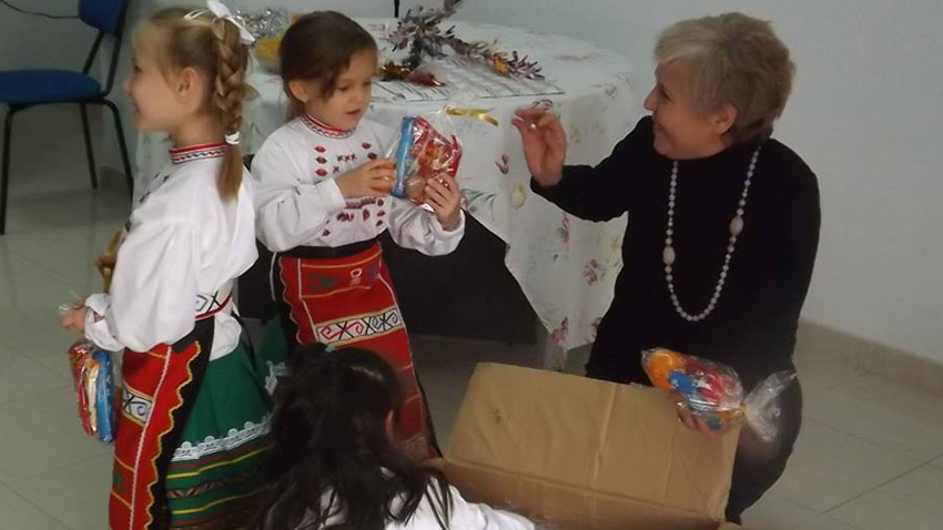 Lyubov Ilieva with children from the school