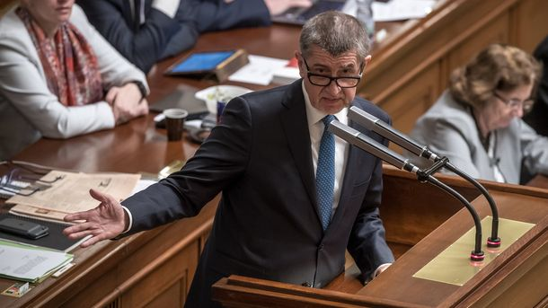 Премиерът Андрей Бабиш говори на заседание на парламента във вторник, на което неговото правителство не получи вот на доверие.