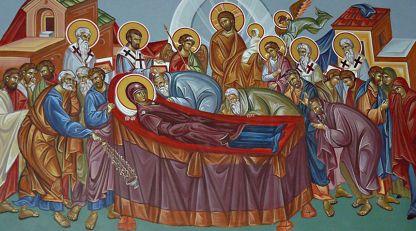 Dormición de la Virgen, fresco de la capilla de San Profeta Elías, aldea de Izvor, provincia de Burgas