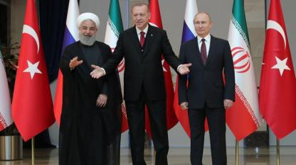 Президентите на Иран Хасан Рохани (вляво), на Турция - Реджеп Ердоган (в средата) и на Русия Владимир Путин на среща в Анкара през април 2018 г.