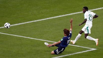 Муса Ваге (вдясно) вкара гол срещу Япония на Световното в Русия