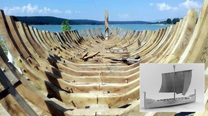 Дървената конструкция бе сглобявана близо две години на място край бреговете на язовира.