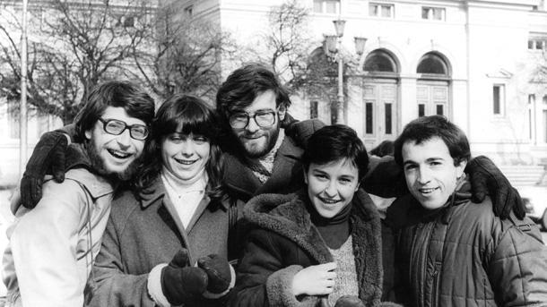 От ляво надясно: Росен Идеалов, Йовчо Крушев и Данко Йорданов през 80-те години на м. в.