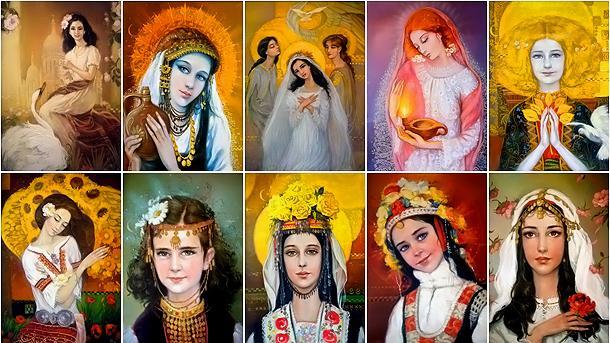 """Картиниот колекцията """"Български мадони"""" на художничката Ралица Денчева."""