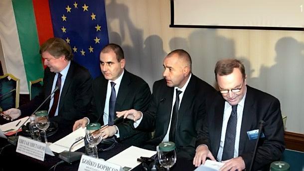 EPP President Wilfred Martens (right to left), bulgarian Premier Boyko Borissov, Interior Minister Tsvetan Tsvetanov and EPP Secretary General Antonio Lopez-Isturiz during the forum