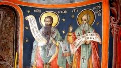 Hl. Basilius und Hl. Gregor, Wandgemälde im Rila-Kloster aus dem Jahr 1821