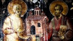 Die Heiligen Brüder Petrus und Paulus – Fragment einer Wandmalerei im Kloster Ardenitza aus dem Jahr 1744