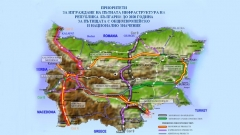Karte der prioritären Straßeninfrastrukturprojekte in Bulgarien