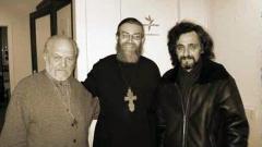 Отляво надясно:Глеб Якунин, Яков Кротов и Александър Верховскив студиото на Радио Свобода в Москва след участие в предаване
