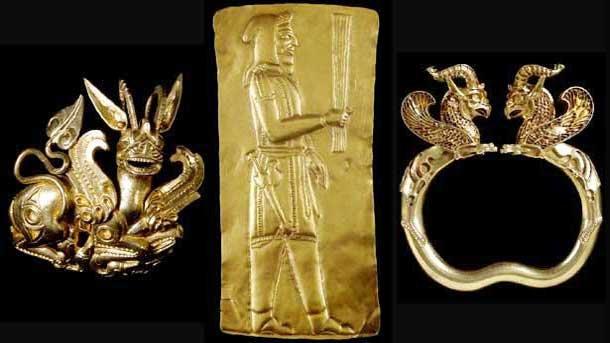 Част от съкровището, открито в Афганистан край река Аму-Даря, от колекцията на Британския музей.