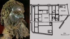 Бронзово изображение на главата на Севт ІІІ и план на Севтополис, съставен при археологическите разкопки на града.