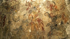 Детайл от свещен стенопис на маите в Сан Бартоло, Гватемала.