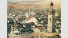 """""""Изглед на София с часовниковата кула"""" (1894 г.) на Йозеф Обербауер"""