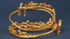 Златен накит от находките, състоящисе от 242 златни украшения и части от конски муниции, открити при археологическите разкопки през 2012 г. от екипа на проф. Диана Гергова в Голямата могила край Свещари, IV-III век пр. н. е.
