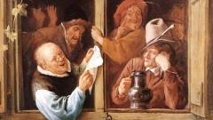"""Фрагмент от картината на холандския художник Ян Стийн (1626 - 1679) """"Оратори на прозореца""""."""