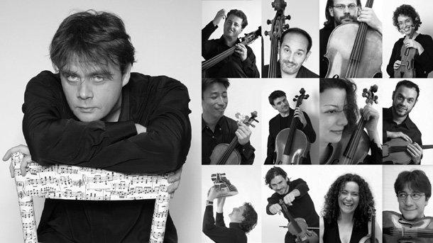 """Отавио Дантоне (ръководител на състава) и музикантите от """"Академия Бизантина""""."""
