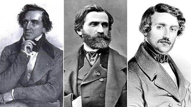 Композиторите Майербер, Верди и Доницети (отляво надясно).