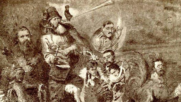 """Карикатура на """"Могъщата петорка"""" от Константин Маковский (пастел, 1871). Отляво надясно са изобразени: Цезар Кюи (като лисица), Милий Балакирев (като мечка), Владимир Стасов (като Мефистофел), Николай Римски-Корсаков (като рак), Модест Мусоргски (като петел), зад гърба на Римски-Корсаков се показва Александър Бородин."""