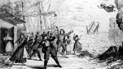 """Последната сцена от премиерата на """"Летящият холандец"""" - рисунката е публикувана във вестник Leipziger Illustrierte Zeitung на 3 януари 1843 г."""