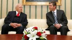 Presidenti i Greqisë Karolos Papuljas (majtas) bëri një vizitë zyrtare në Sofje me ftesë të homologut të tij bullgar Georgi Përvanov