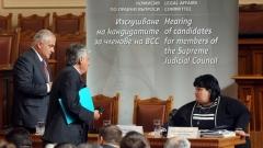 Komisioni për Çështjet Ligjore dëgjon në një mbledhje të hapur në sallën plenare kandidatët për anëtarë të Këshillit të Lartë të Drejtësisë nga kuota e Kuvendit Popullore. Në fotografinë kryetarja e Komisionit, znj. Iskra Fidosova.